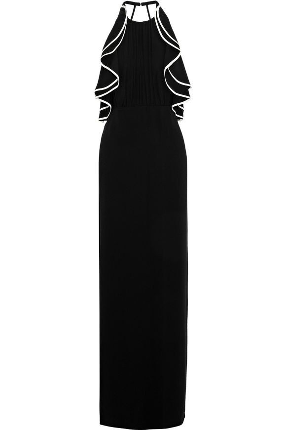 Crepe prom dress with open back