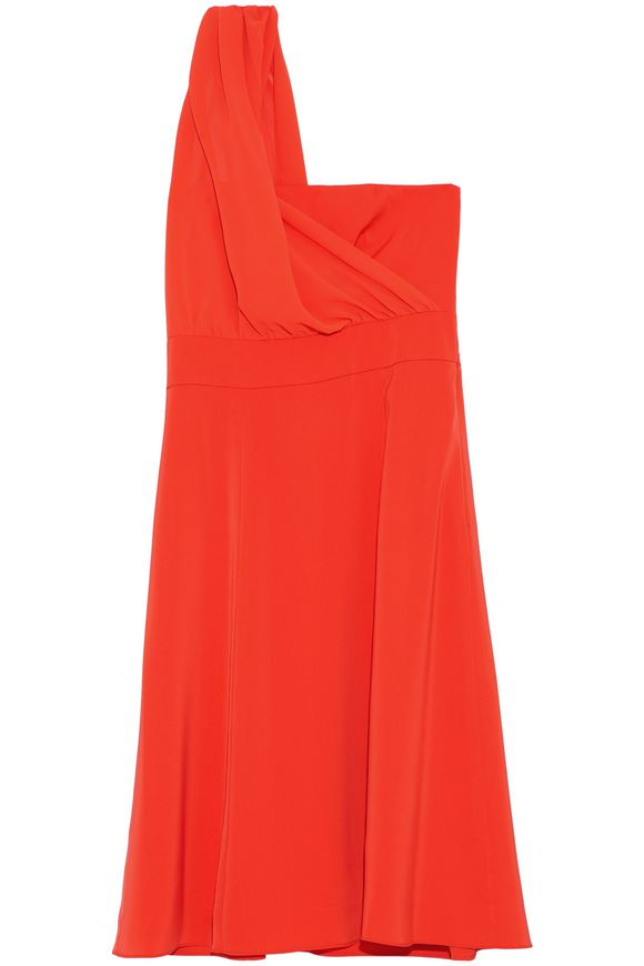 Orange one-shoulder crepe dress
