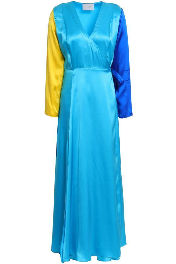 Color block silk satin dress