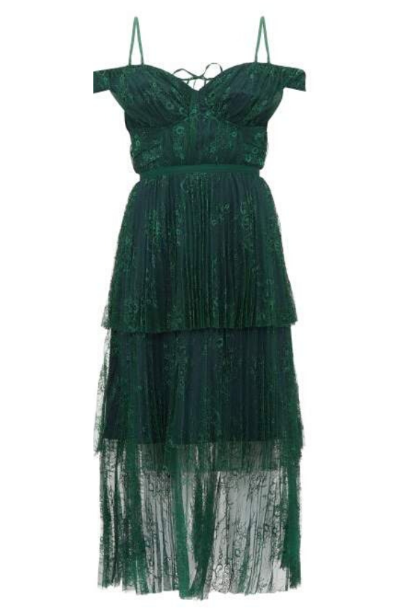 Deep green lace dress