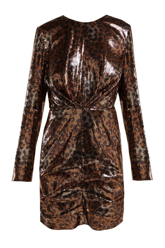 Leopard dress in bronze sequins